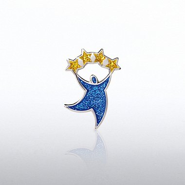 Lapel Pin - Glitter - Team Guy with Stars