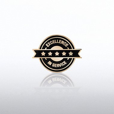 Lapel Pin - Excellence in Service - Circle Banner