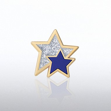 Lapel Pin - Glitter and PVC Stars