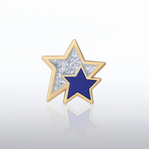 Glitter and PVC Stars Lapel Pin