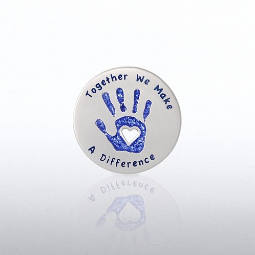 Glitter Together We Make a Difference Hand Lapel Pin