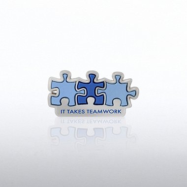 PVC Lapel Pin - It Takes Teamwork