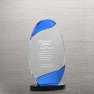Color Wave Crystal Trophy - Blue