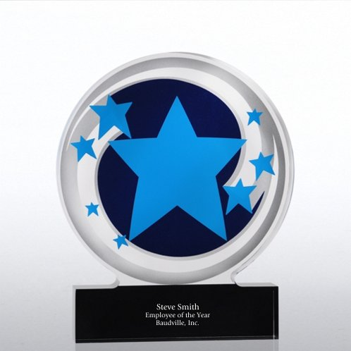 Blue Star Swirls Galaxy Acrylic Trophy
