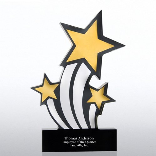 Silver and Gold Shooting Stars Galaxy Acrylic Trophy