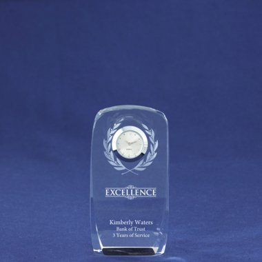 Crystal Award Clock - Laurels