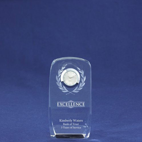 Laurels Crystal Award Clock