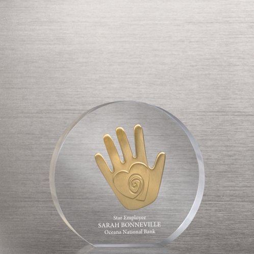 Helping Hand Embedded Medallion Trophy