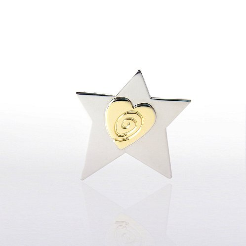Two-Tone Star with Heart and Swirl Lapel Pin
