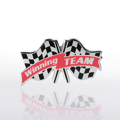 Winning Team Checkered Flags Lapel Pin