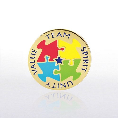 Team, Spirit, Unity, Value Lapel Pin