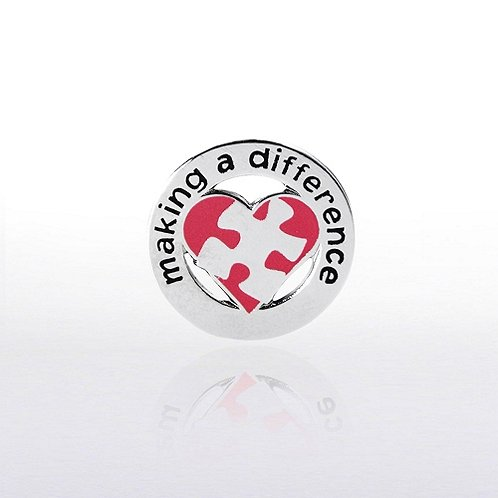 Making a Difference Puzzle Heart Lapel Pin