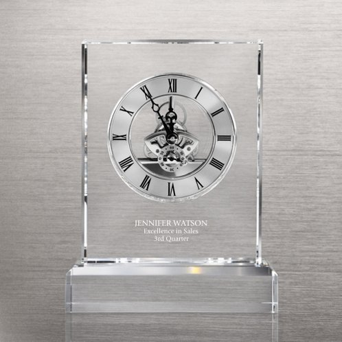Silver Executive Crystal Skeleton Clock