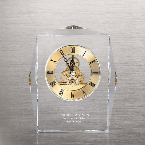 Gold Executive Crystal Skeleton Clock