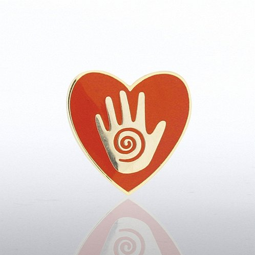 Helping Hand in Heart Lapel Pin
