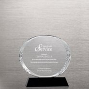 Elite Black Accent Trophy - Laurel Etched Round