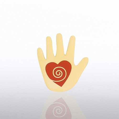 Helping Hand Red Heart Lapel Pin