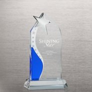 Blue Etched Crystal Trophy - Star