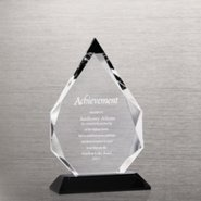 Elite Black Accent Crystal Trophy - Tear Drop