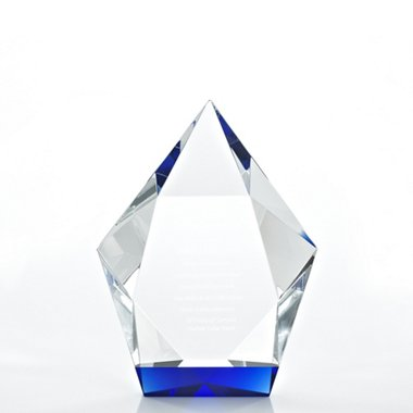 Royal Blue Crystal Accent Trophy - Diamond