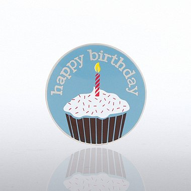 Lapel Pin - Happy Birthday Cupcake