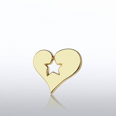 Lapel Pin - Heart Stamped Star