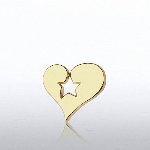 Heart Stamped Star Lapel Pin