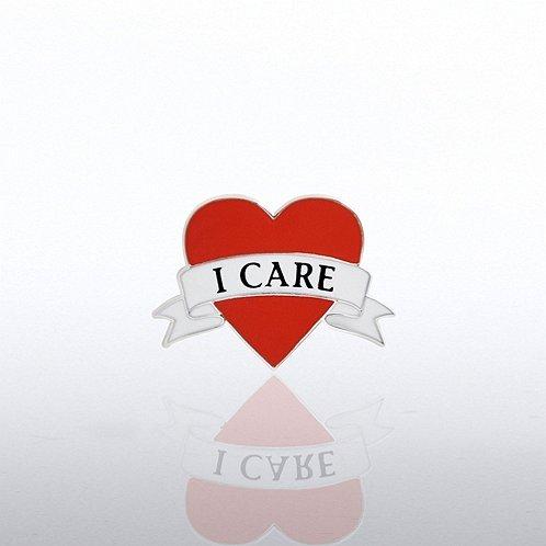 I Care Heart Lapel Pin