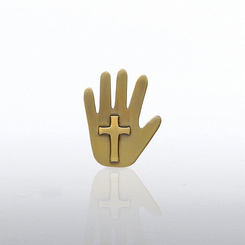 Cross Hand Lapel Pin
