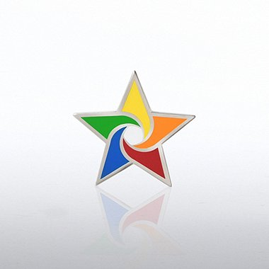 Lapel Pin - Colorful Star Swirl
