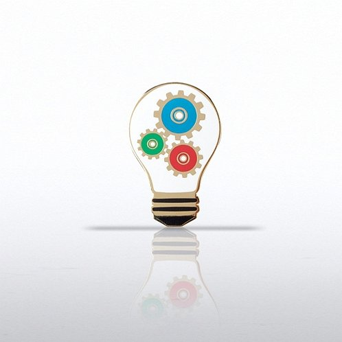 Light Bulb with Gears Lapel Pin
