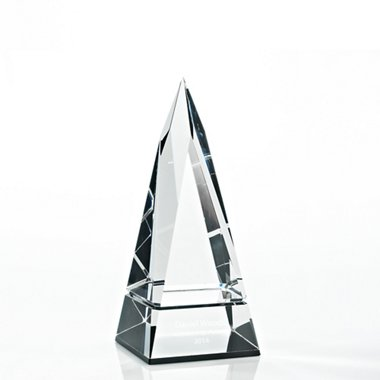 Beveled Edge Crystal Black Accent Trophy - Tower