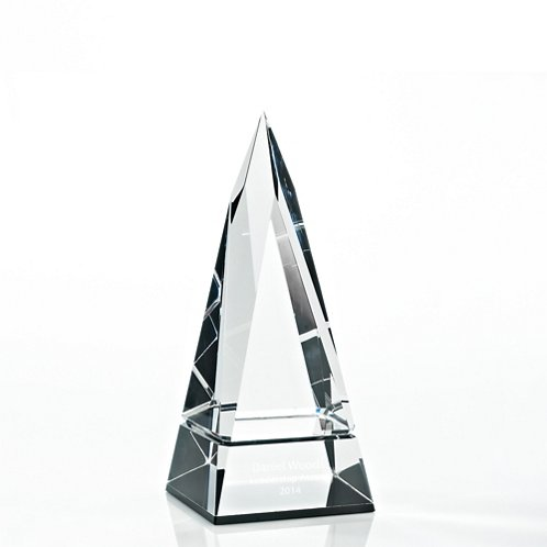 Tower Beveled Edge Black Accent Crystal Trophy