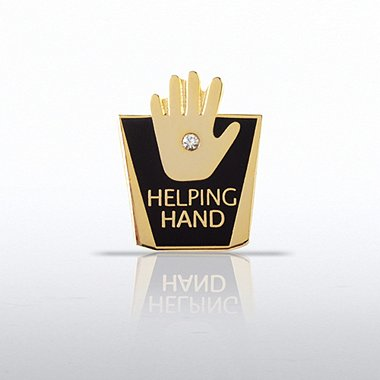 Lapel Pin - Helping Hand w/ Gem