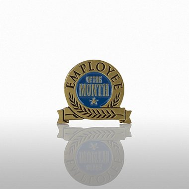 Lapel Pin - Employee of the Month - Blue Laurel