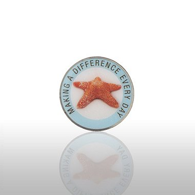 Lapel Pin - Starfish: Making A Difference Everyday - Round