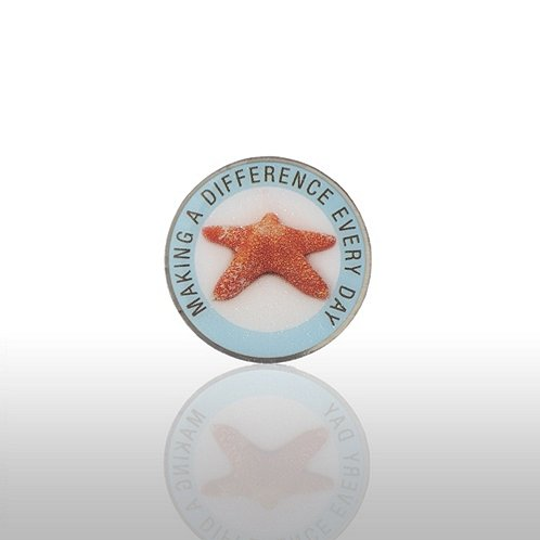 Starfish: Making A Difference Everyday - Round Lapel Pin