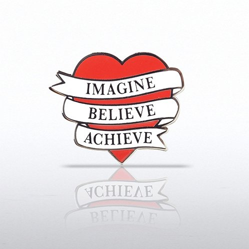 Heart - Imagine, Believe, Achieve Lapel Pin