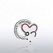 Lapel Pin - Stethoscope: Compassionate Dedicated - Round