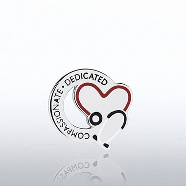 Lapel Pin - Stethoscope: Compassionate Dedicated - Round