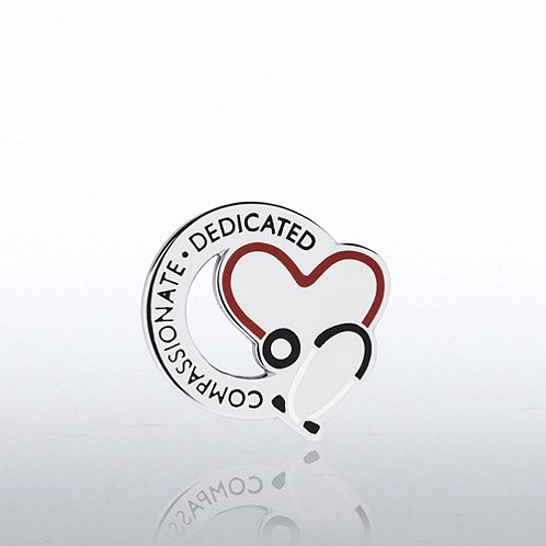 Stethoscope: Compassionate Dedicated - Round Lapel Pin