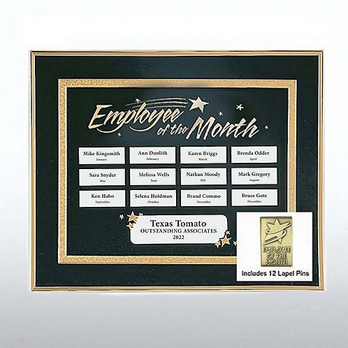 Emp of the Month Perpetual Recognition Program w/12 Pins