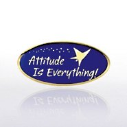 Lapel Pin - Attitude is Everything - Blue/Gold