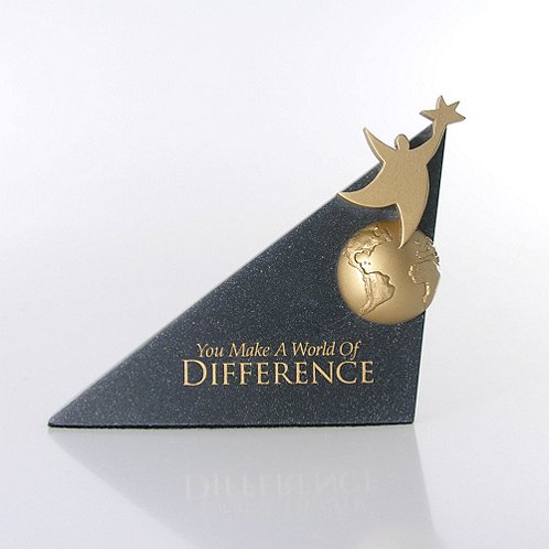 You Make a World of Difference Sculptured Desk Awards