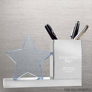 Trophy Desk Caddy - Star: Blue Glass