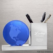 Trophy Desk Caddy -  World of Difference: Etched Glass Globe