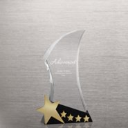 Shooting Star Accent Trophy - Black Crystal with Gold Stars