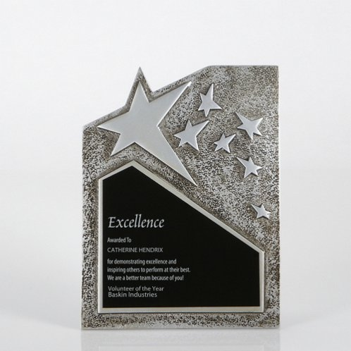 Large Silver Resin Star Plaque