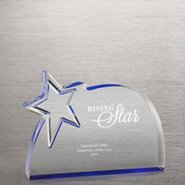 Reflective Blue Acrylic Star Award -  Round