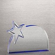 Reflective Blue Acrylic Star Award -  Round